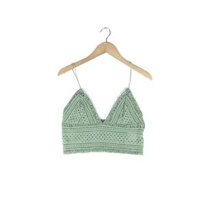 urban outfitters• sage green crochet lace bralette